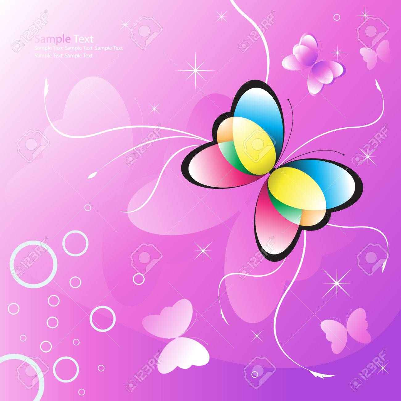 butterfly vector illustration on a pink background Stock Vector - 4896386