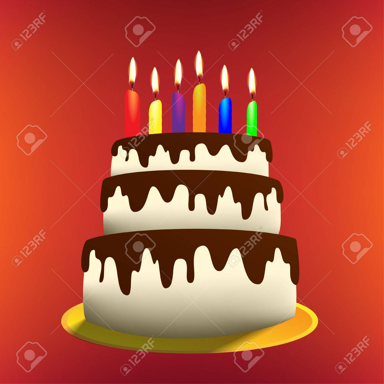 Vector Illustration Of Cartoon Birthday Cake With Candles Royalty