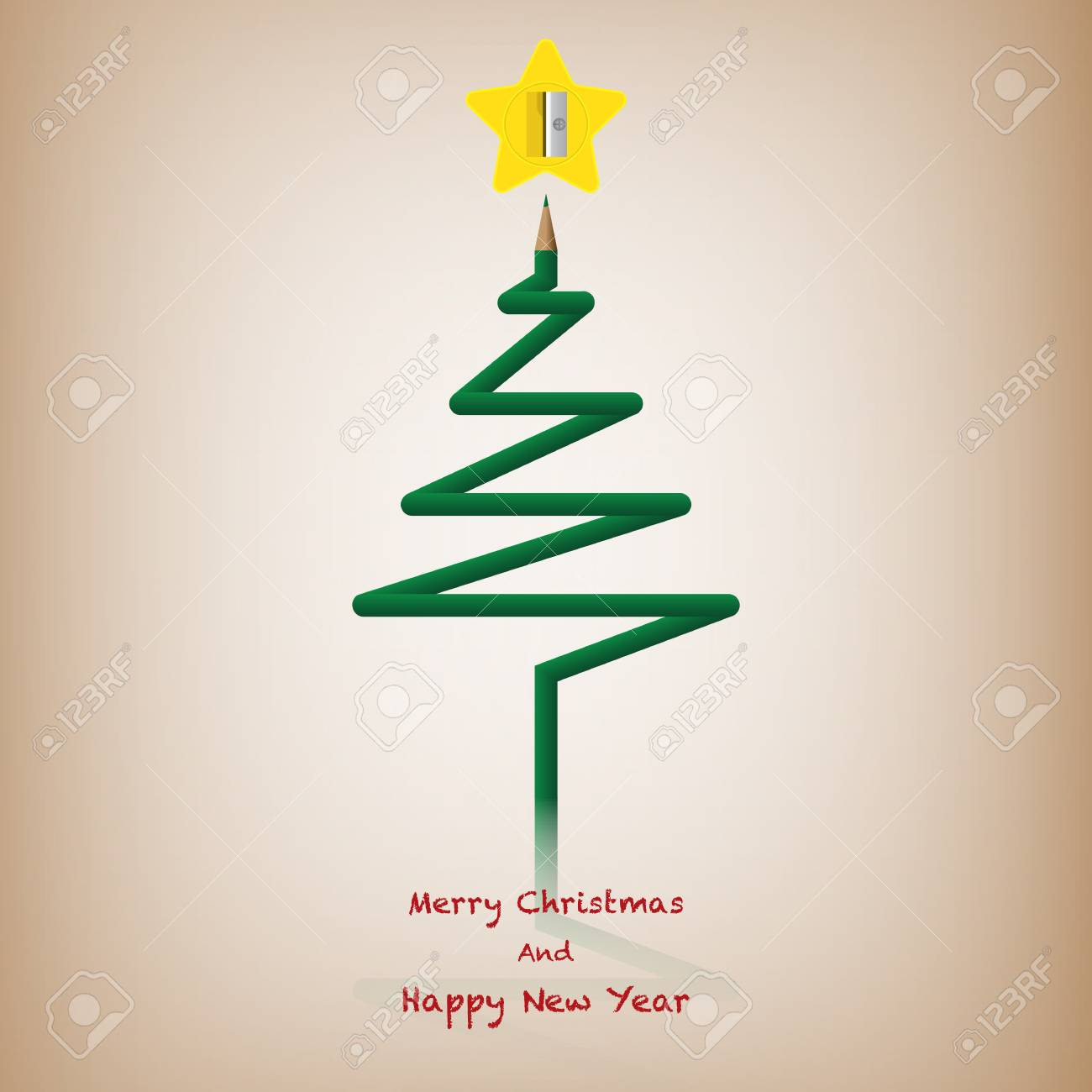 Pencil Christmas Tree.Color Pencil Christmas Tree Merry Christmas And Happy New Year