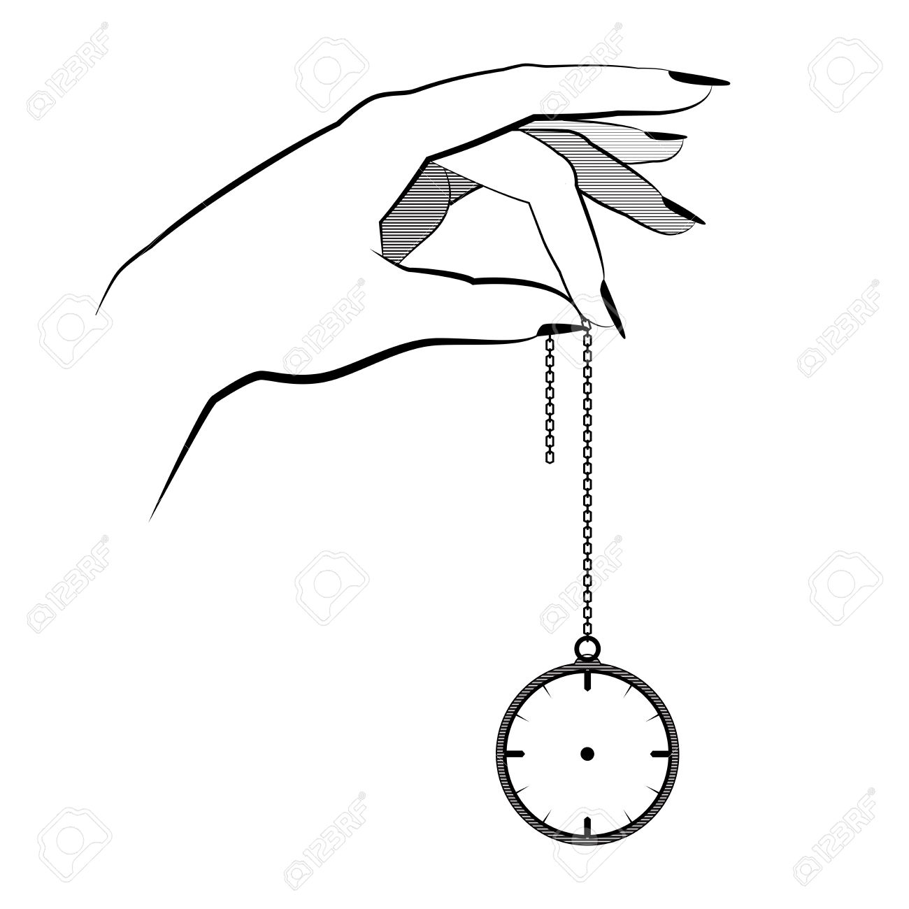 La Bolsillo De Concepto Ilustración Mano VectorialAislado Hipnosis Asimiento En Un MentalDiseño Reloj CadenaControl El Plano tshQrCdBx