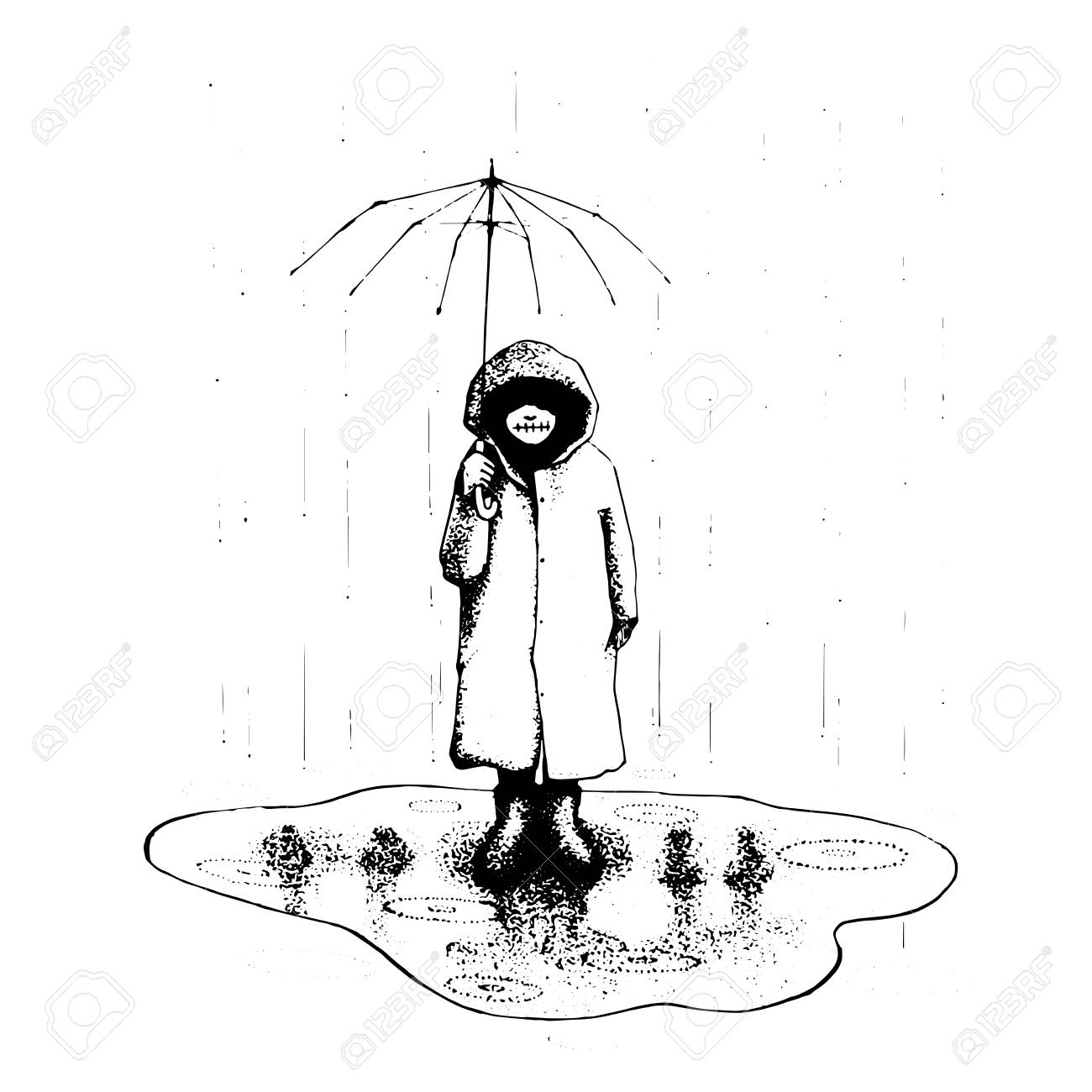 Girl stand alone in the rain with umbrella vector illustration hand drawing line art