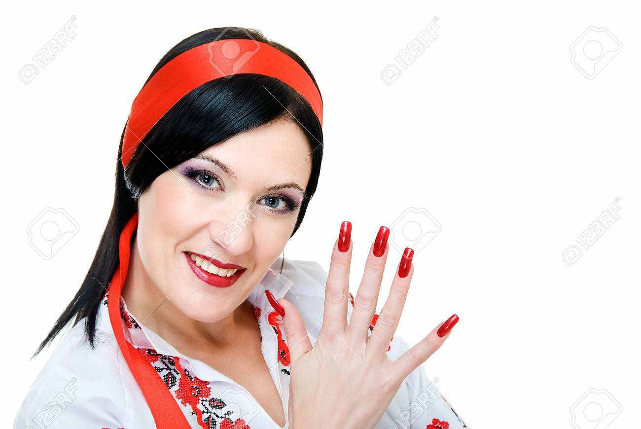 portrait of pretty ukrainian woman with red manicure Stock Photo - 4653042