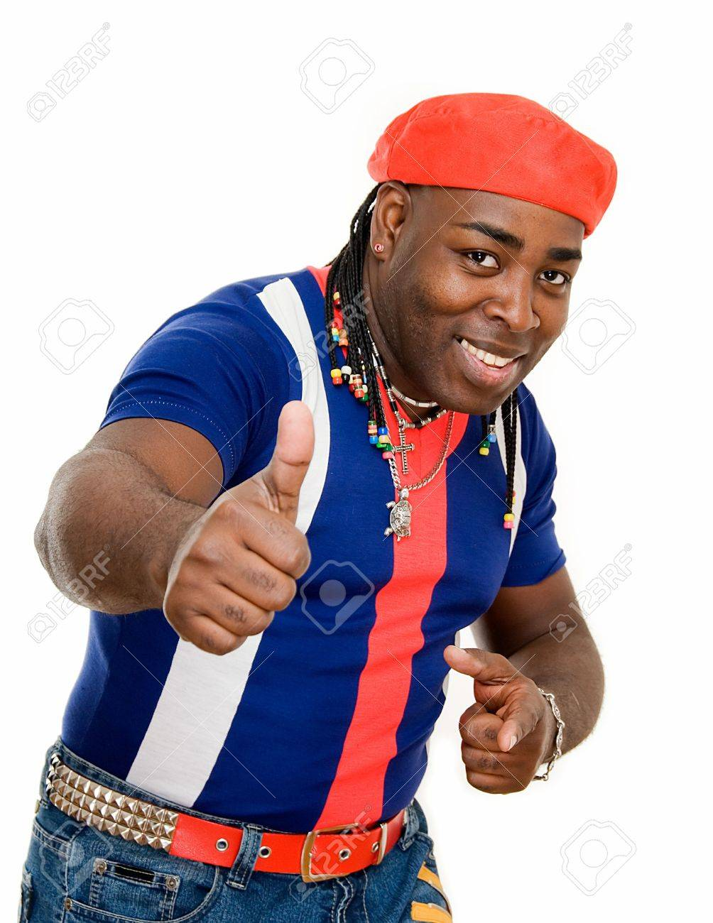 cuban black man showing sign okay on white Stock Photo - 4653054