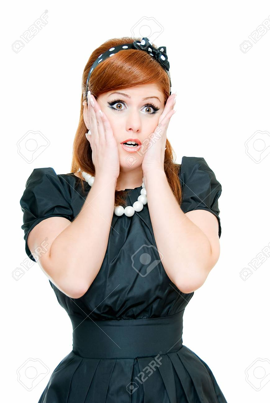 young woman is in shock on white Stock Photo - 4857469