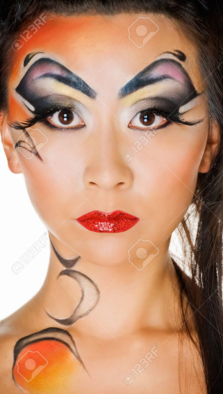 beauty asian girl with body art on white Stock Photo - 5902918