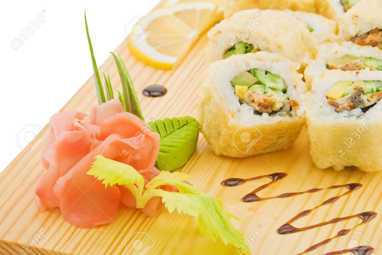 Decoration And Flavouring For Sushi On Wooden Plate Stock Photo 6871266