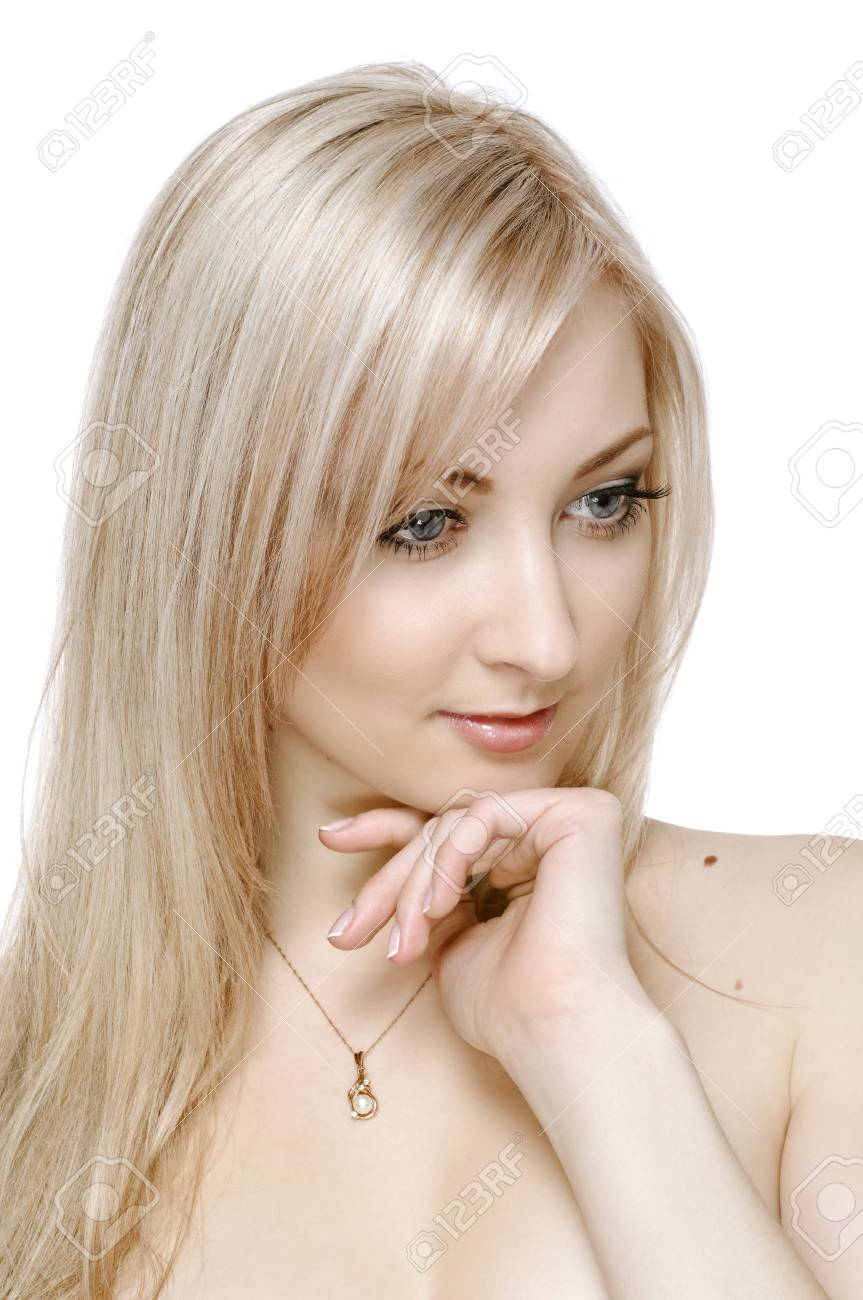 portrait of beauty blonde girl on white Stock Photo - 9288243