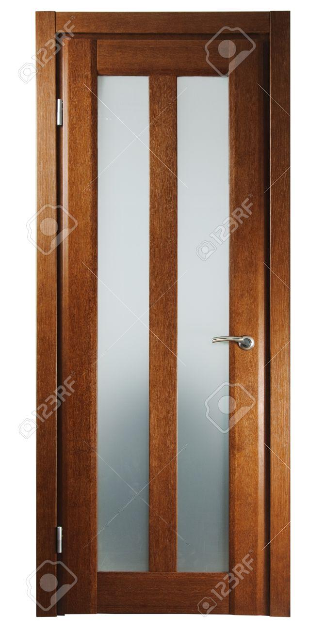 Porte en bois pour la chambre sur le fond blanc banque d'images et ...