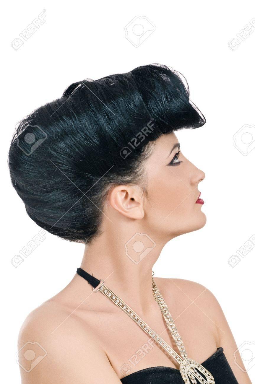 Portrait Of Beautiful Girl With Elegant Coiffure Quiff In Black