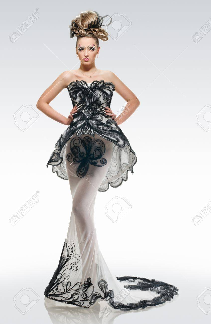 price remains stable newest selection release date Model in a fashion long dress with creative coiffure and make..