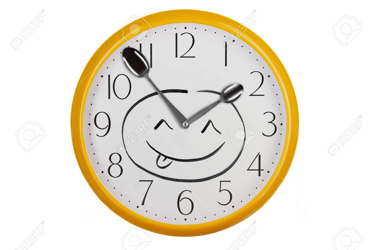Kitchen Wall Clock With Happy Face Emoji Made Of Silver Spoons