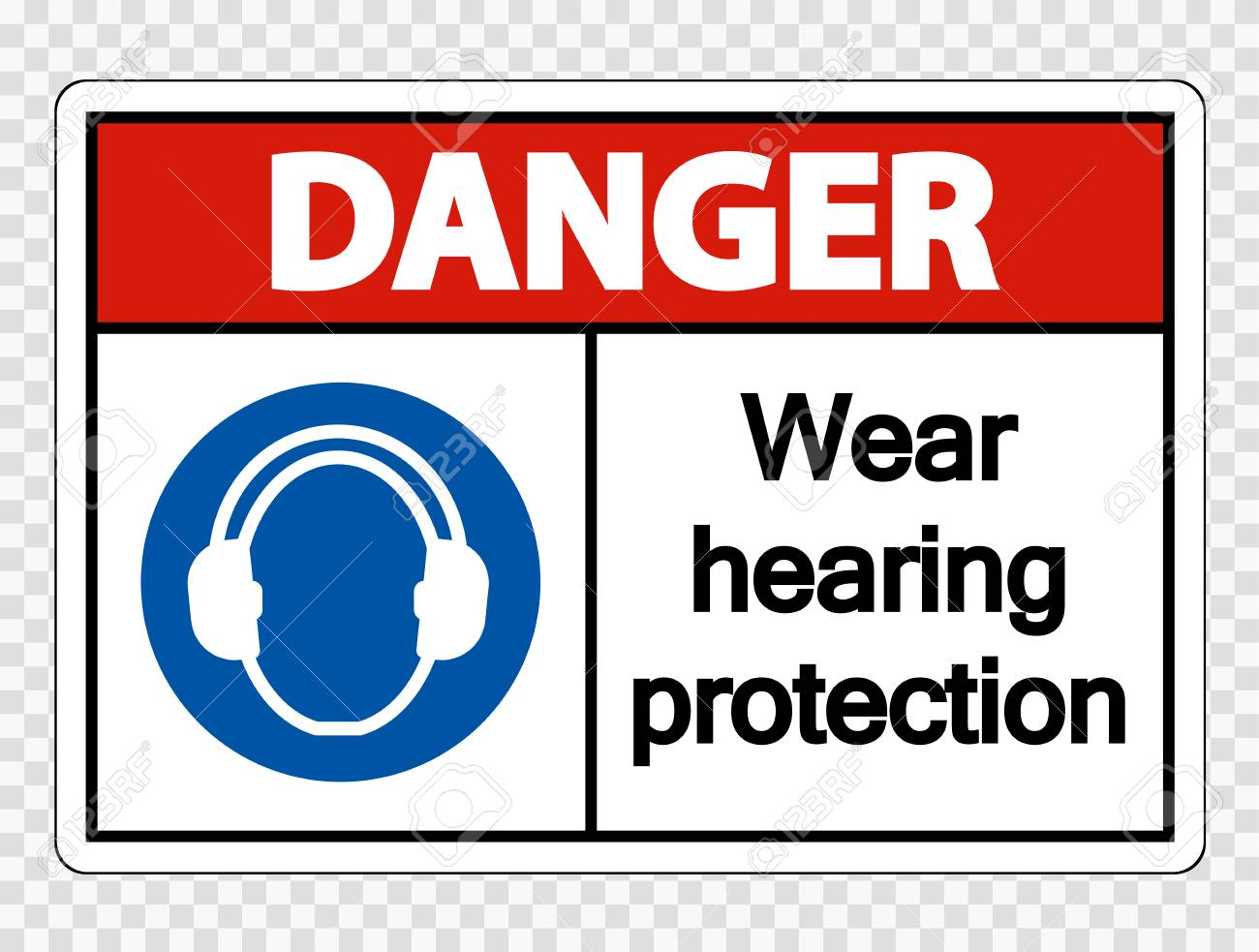 Danger Wear hearing protection on transparent background - 121127823