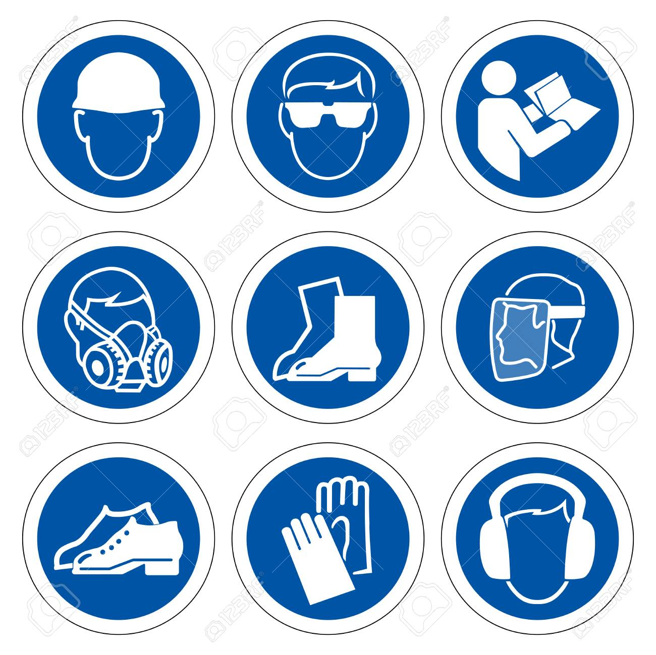 Required Personal Protective Equipment (PPE) Symbol,Safety Icon,Vector illustration - 122417114