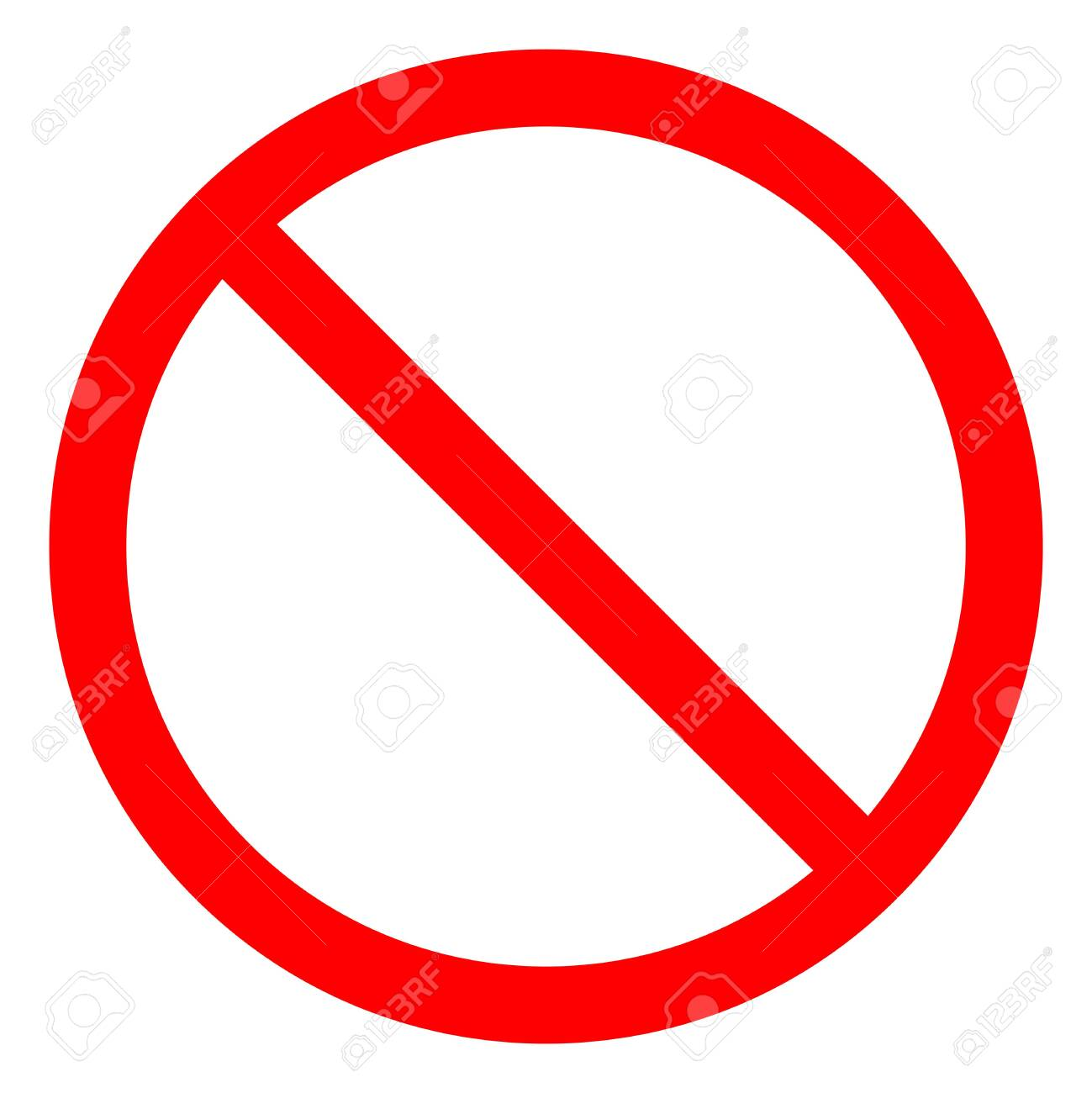 No Sign Empty Red Crossed Out Circle,Not Allowed Sign Isolate On White Background,Vector Illustration EPS.10 - 126635447