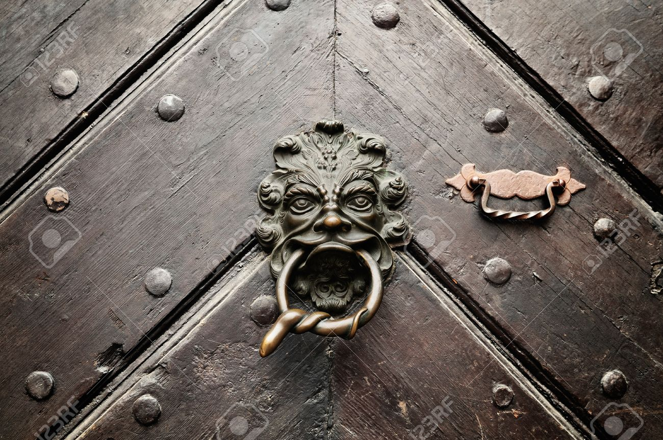 A lion door knocker with a snake encoiled ring in its mouth welcomes visitors on an ancient door in Bamberg, Germany. Stock Photo - 9586789