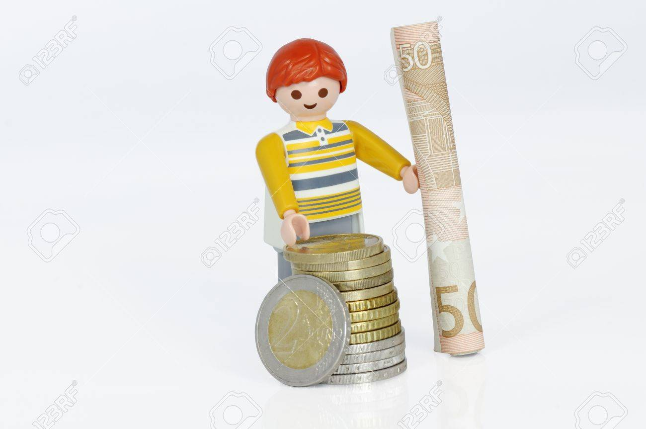 Muenster Germany April 22 2011 Playmobil Man With Euro Coins