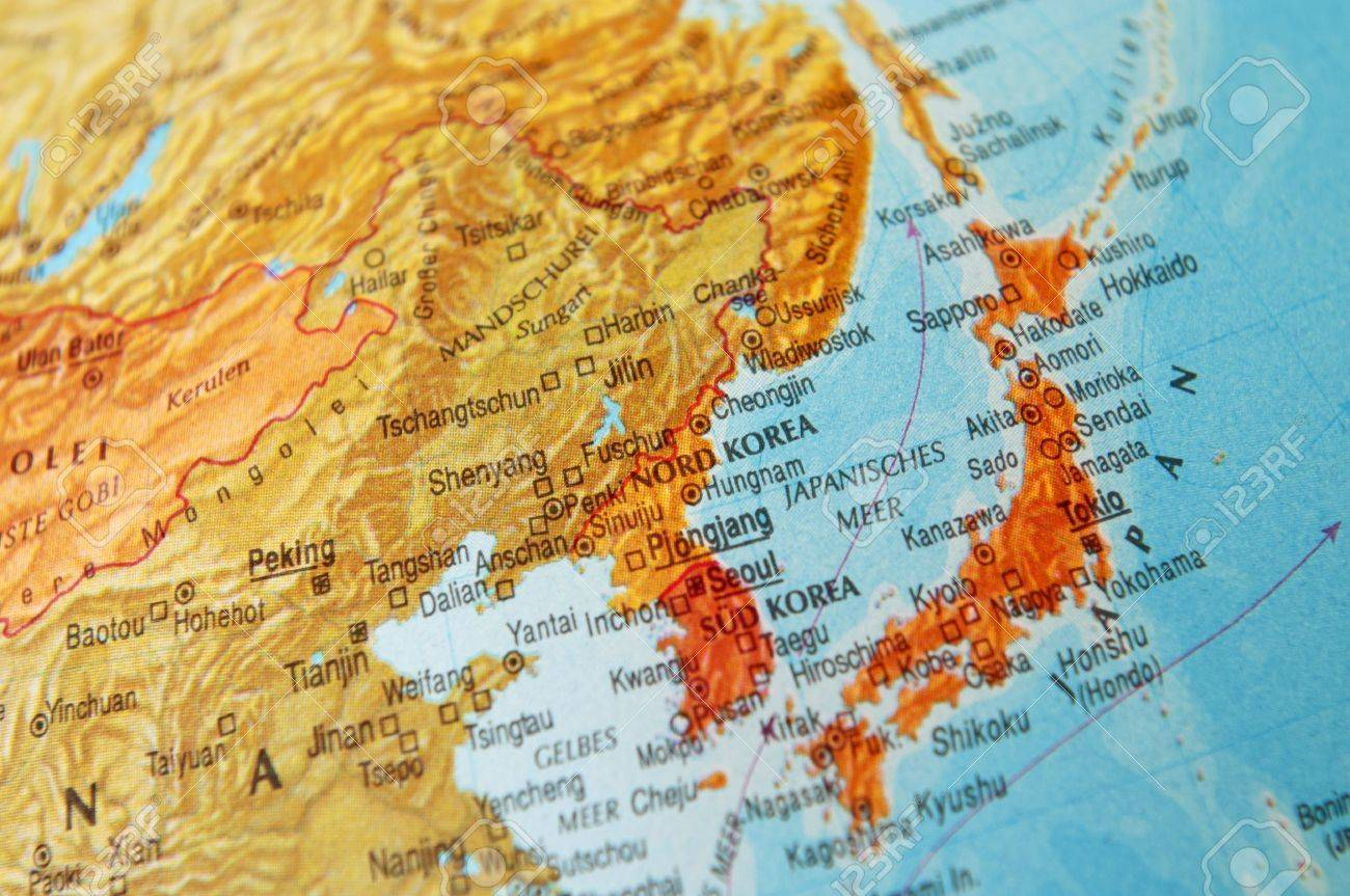 Detail Of A World Map On Japan And Korea Photo Picture And – Map of the World in Detail