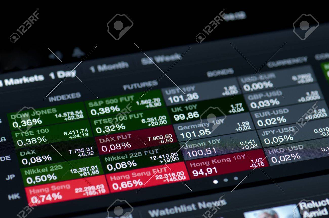 Muenster, Germany - March 30, 2013: List of stock market indices on a high resolution LCD screen presented on ipad Stocks application. A stock market index is a method of measuring the value of a section of the stock market. Stock Photo - 19074946