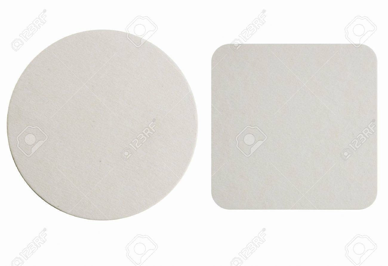 Image of two new beer coasters isolated on a white background Add your own design - 21397963