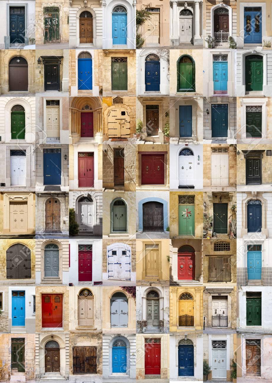 un collage de fotos de puertas de colores para casas de malta foto de