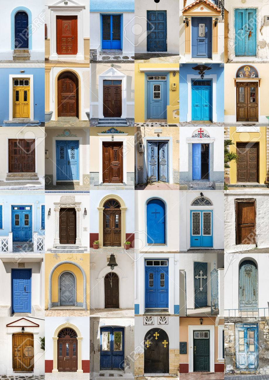 Photo collage of 36 colourful front doors to houses from Karpathos Greece. Stock Photo & Photo Collage Of 36 Colourful Front Doors To Houses From Karpathos ...