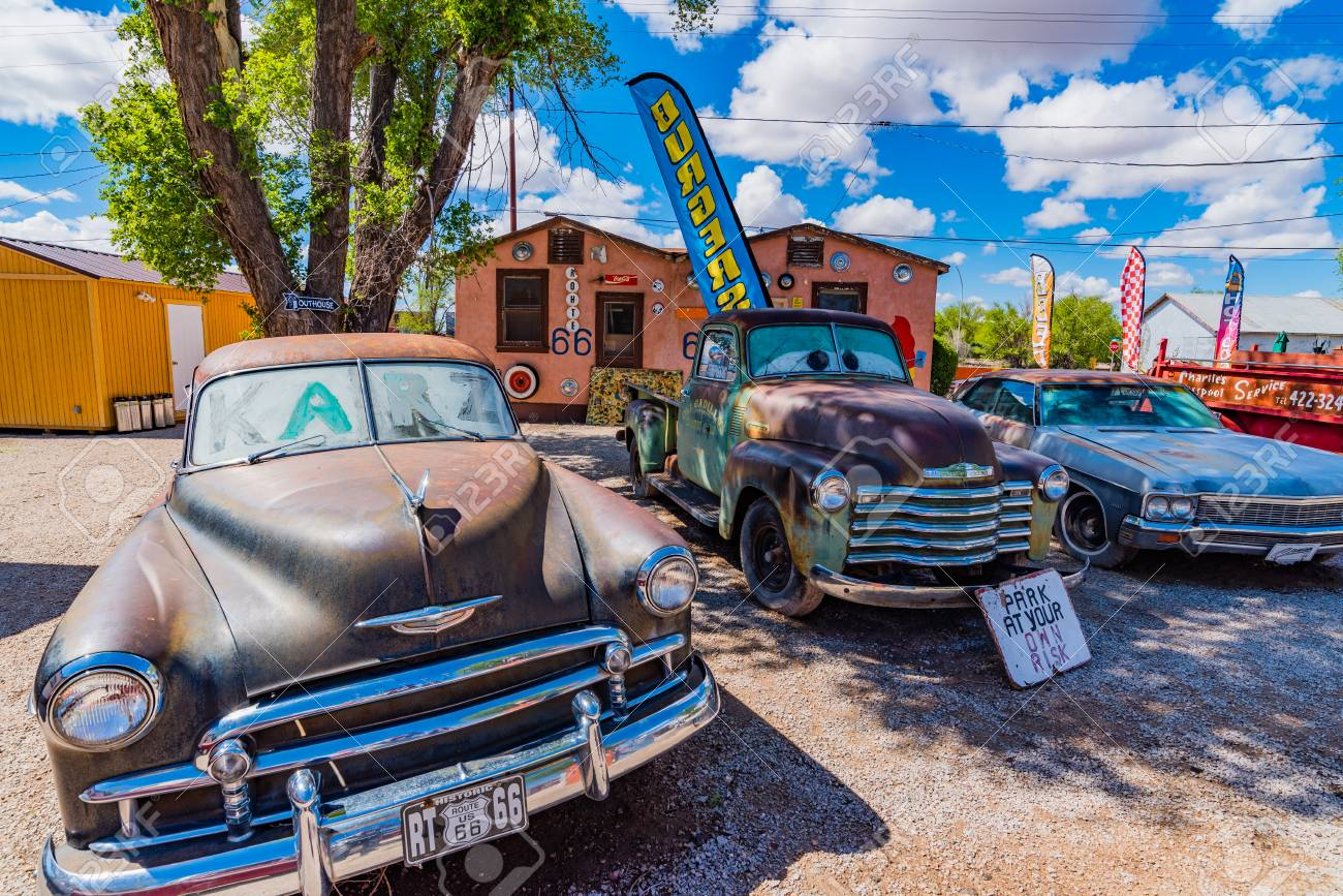 Seligman Arizona Usa May 2 2016 Views Of The Route 66 Decorations