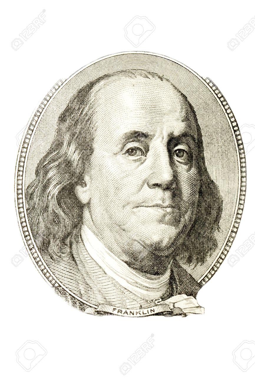a portrait of benjamin franklin from 100 dollar bill stock photo