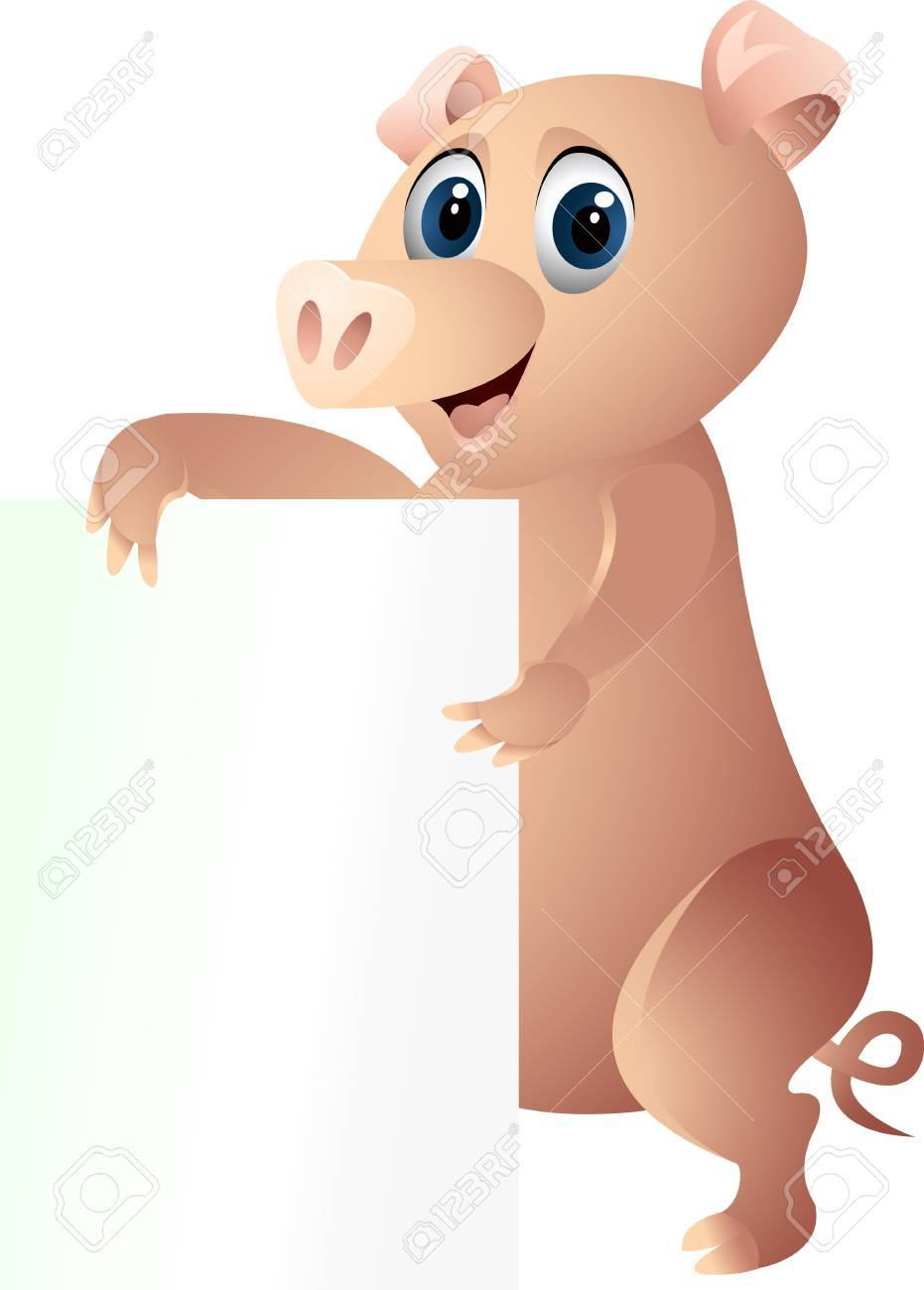 pig with blank sign Stock Vector - 12542586