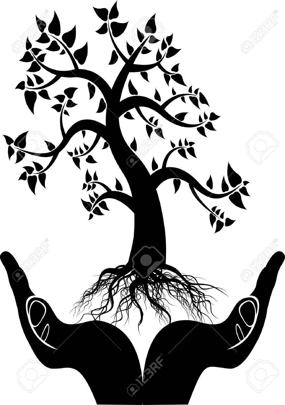 hand tree silhouette Stock Vector - 12542613