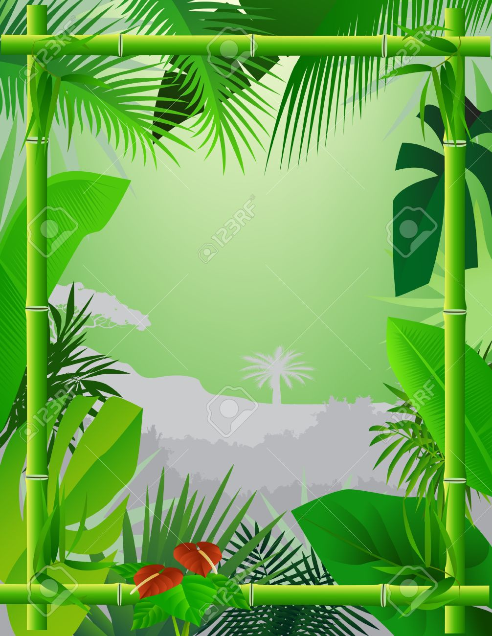 Tropical Background with Bamboo Frame Stock Vector - 12832963