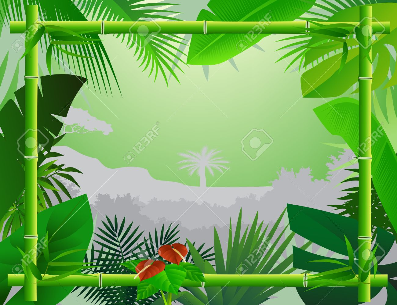 Tropical Background with Bamboo Frame Stock Vector - 12832962