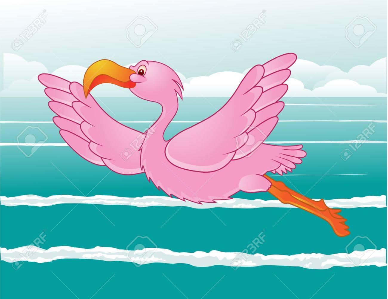 flamingo in flight Stock Vector - 13408470