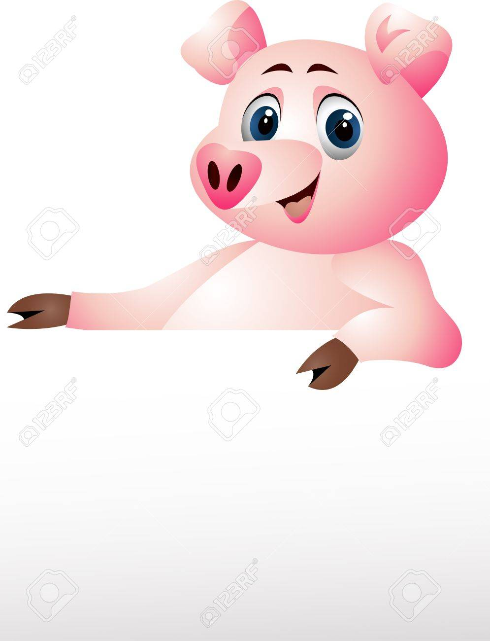 pig with blank sign Stock Vector - 14288163