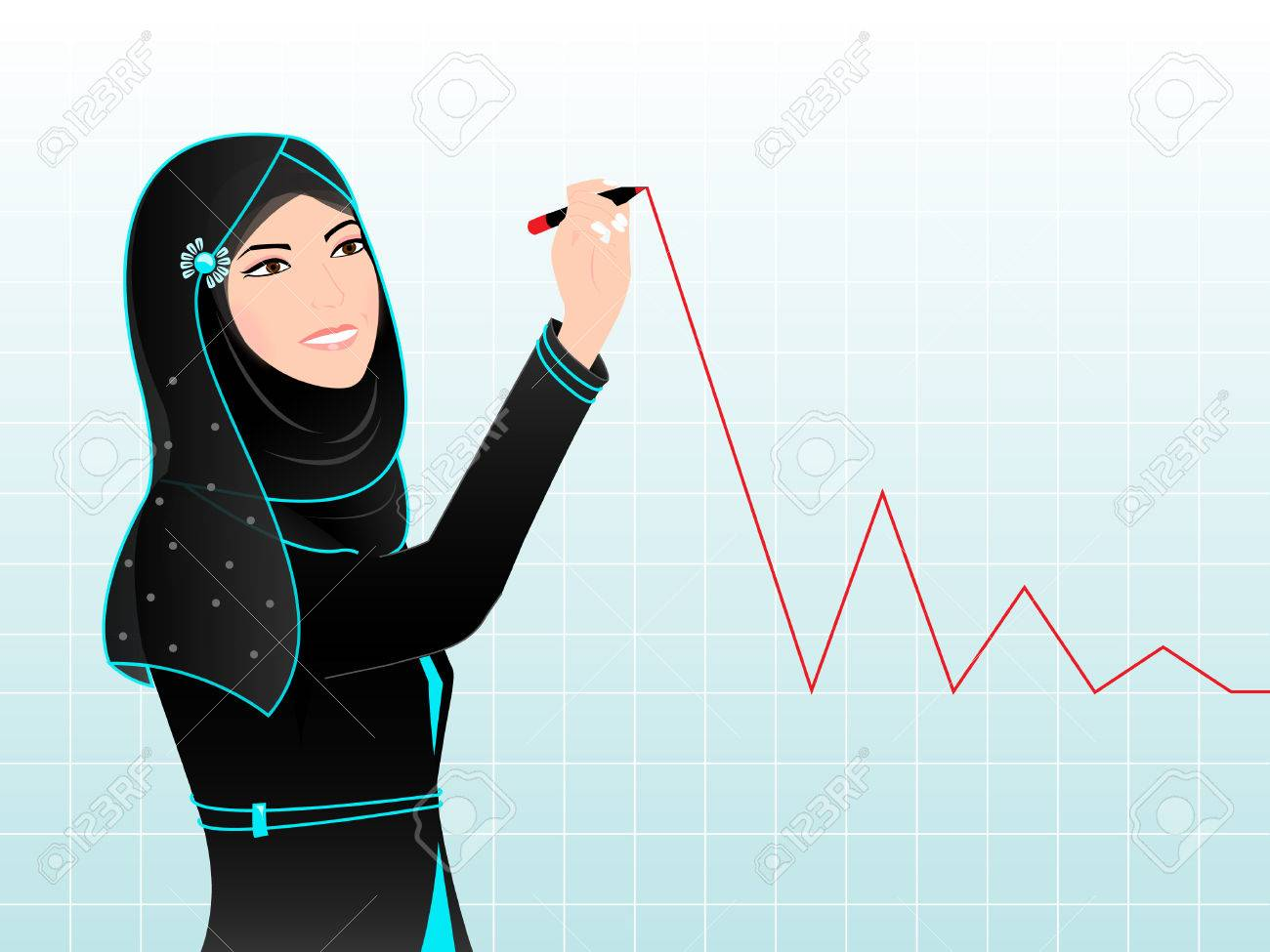 Arab Woman Drawing Chart - An Arab Woman Is Drawing Chart On ...