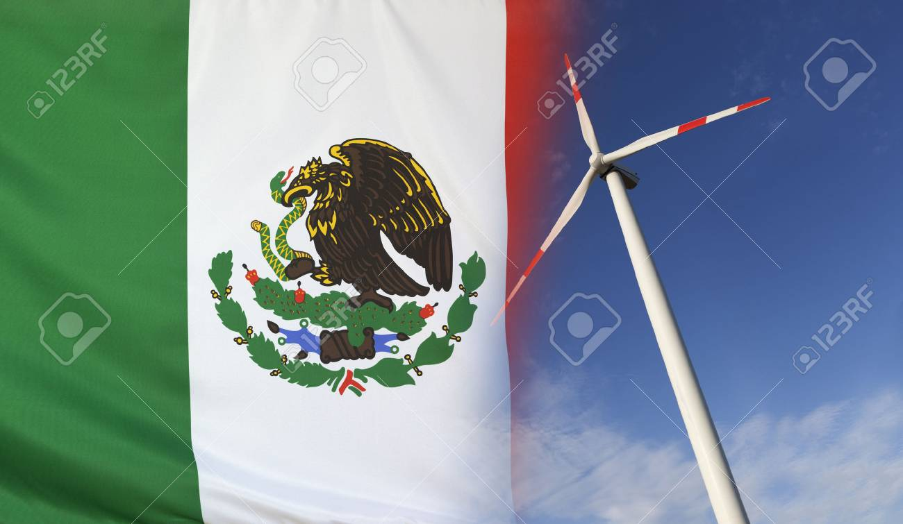 Concept Clean Energy With Flag Of Mexico Merged With Wind Turbine