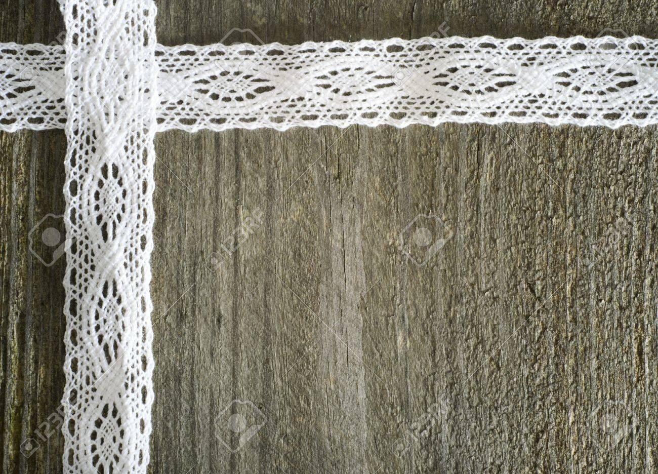 White Lace On The Wooden Gray Background Rustic Stock Photo