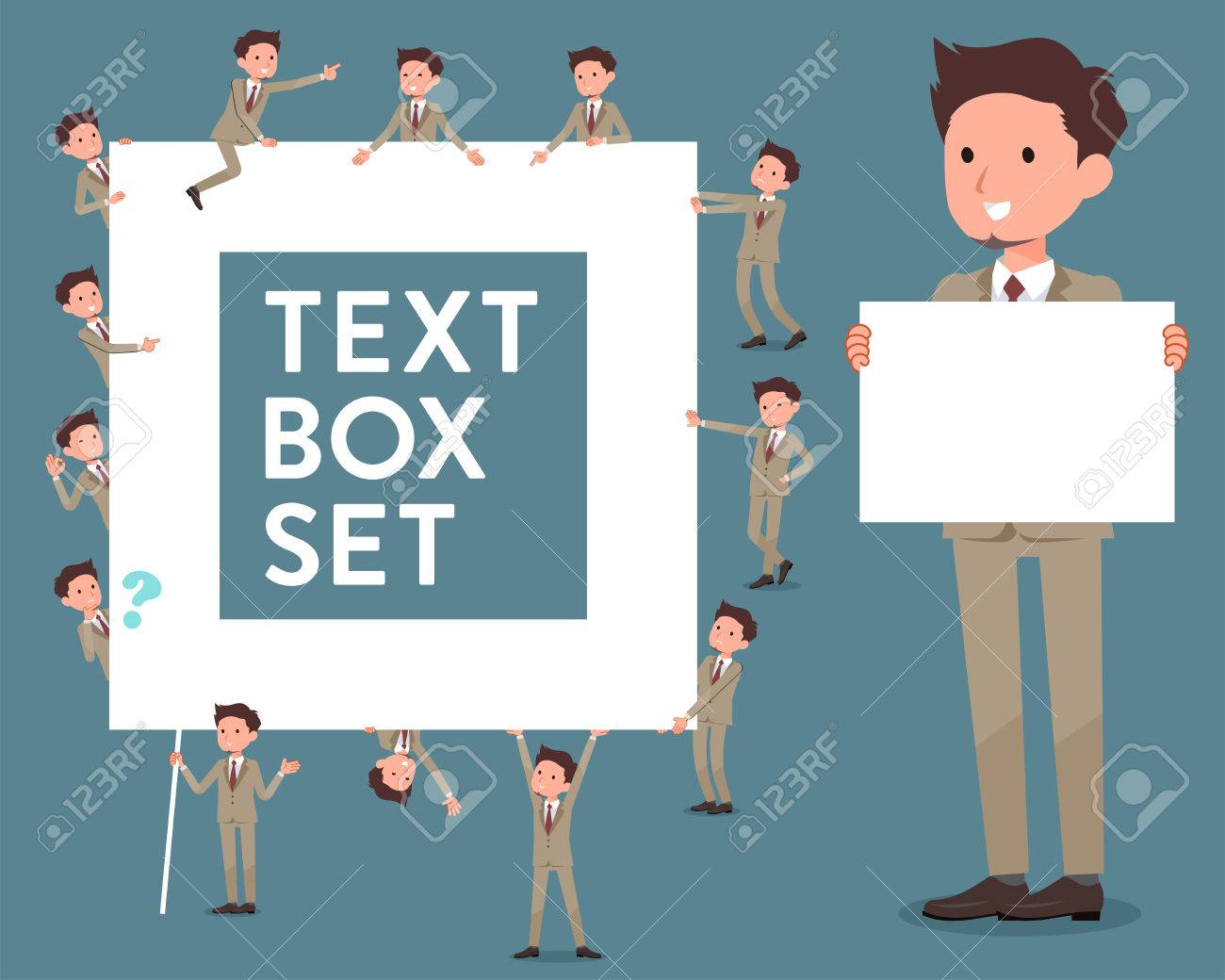 Banco De Imagens   Set Of Various Poses Of Flat Type Beige Suit Short Hair  Beard Man_text Box