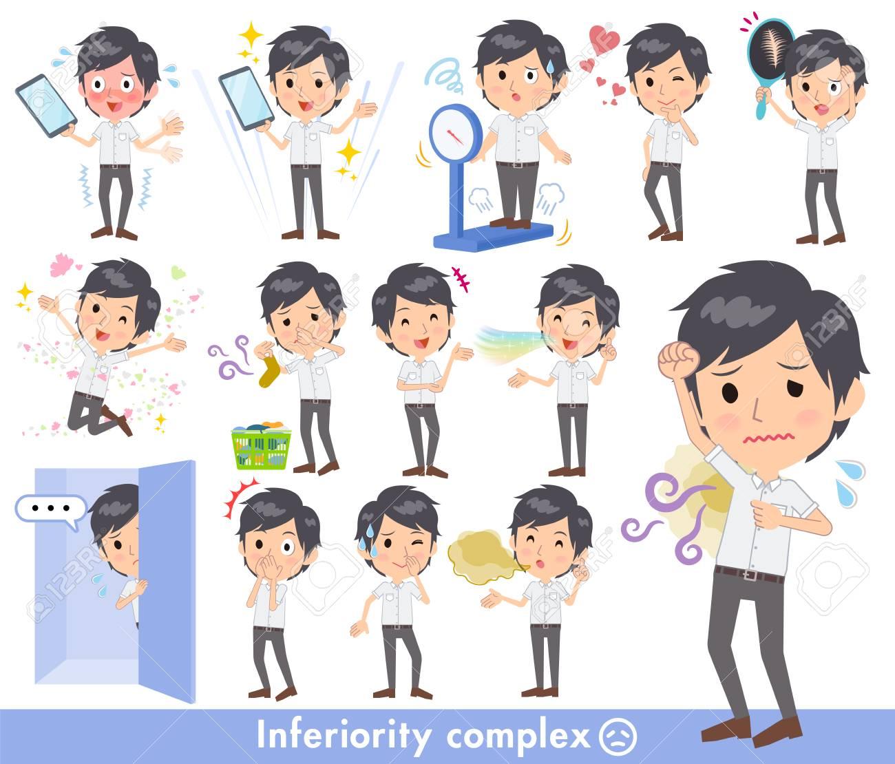 White short sleeved men doing various tasks - 91316755