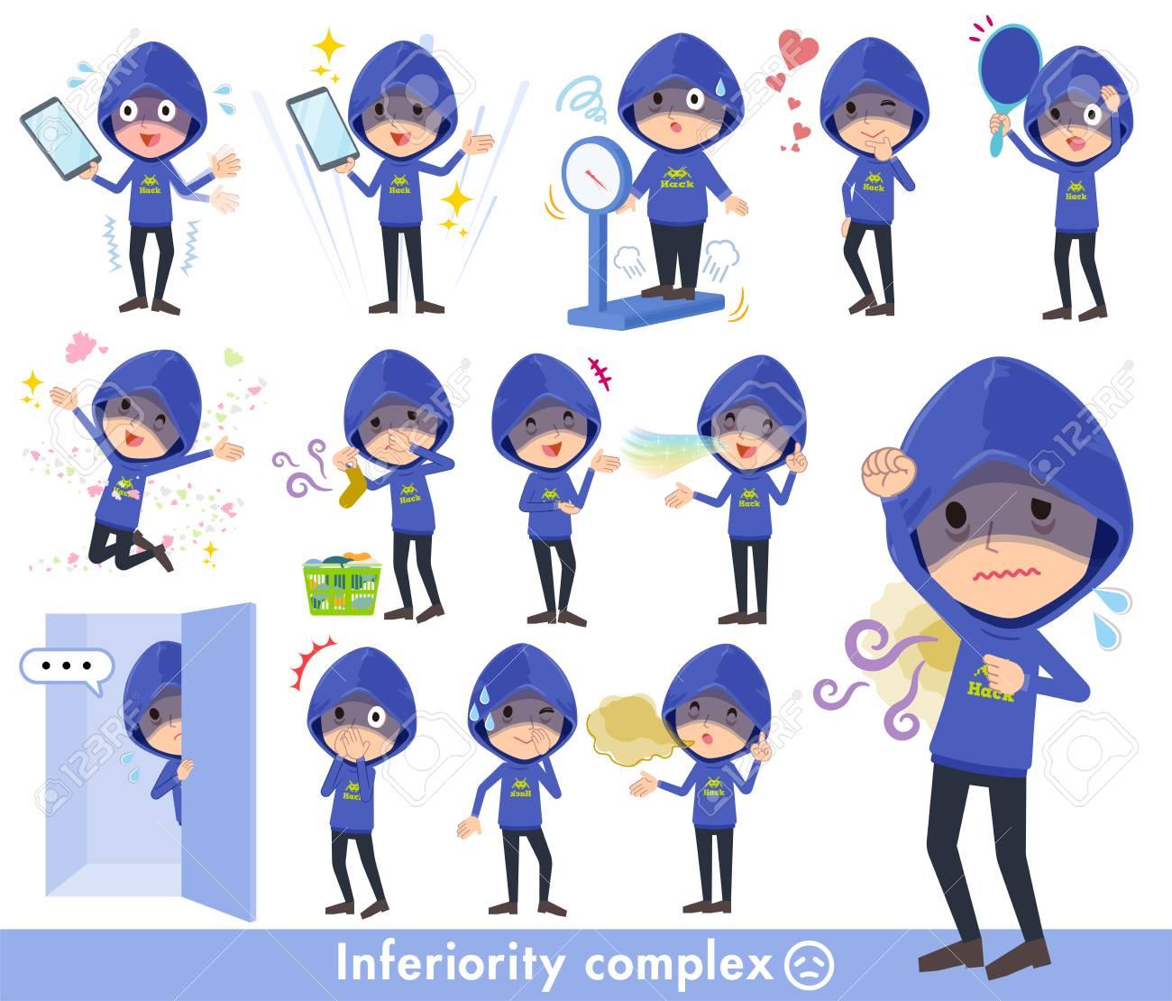 Blue hacker men in complex. - 94276986