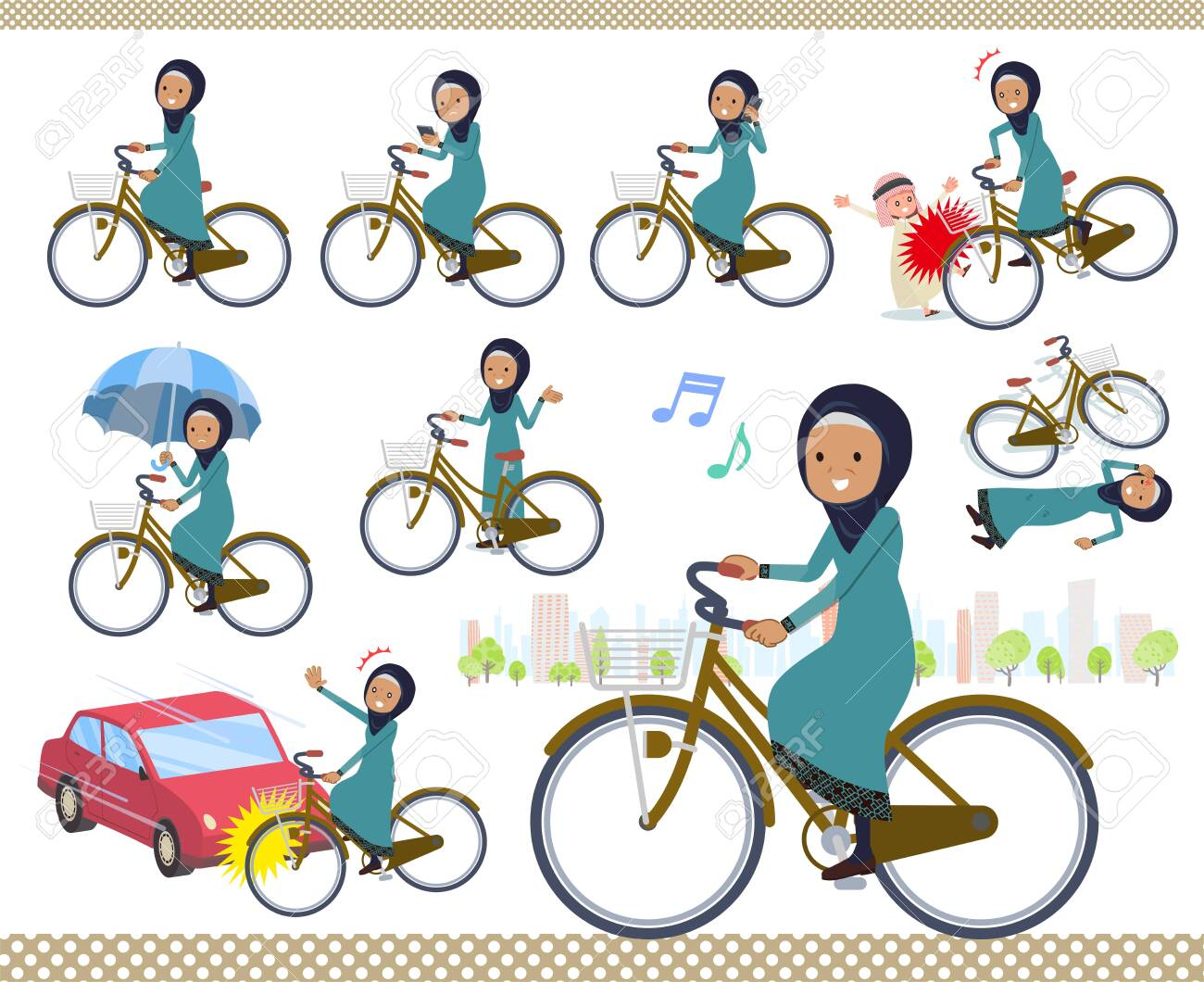 A set of old women wearing hijab riding a city cycle.There are actions on manners and troubles.It's vector art so it's easy to edit. - 124040206