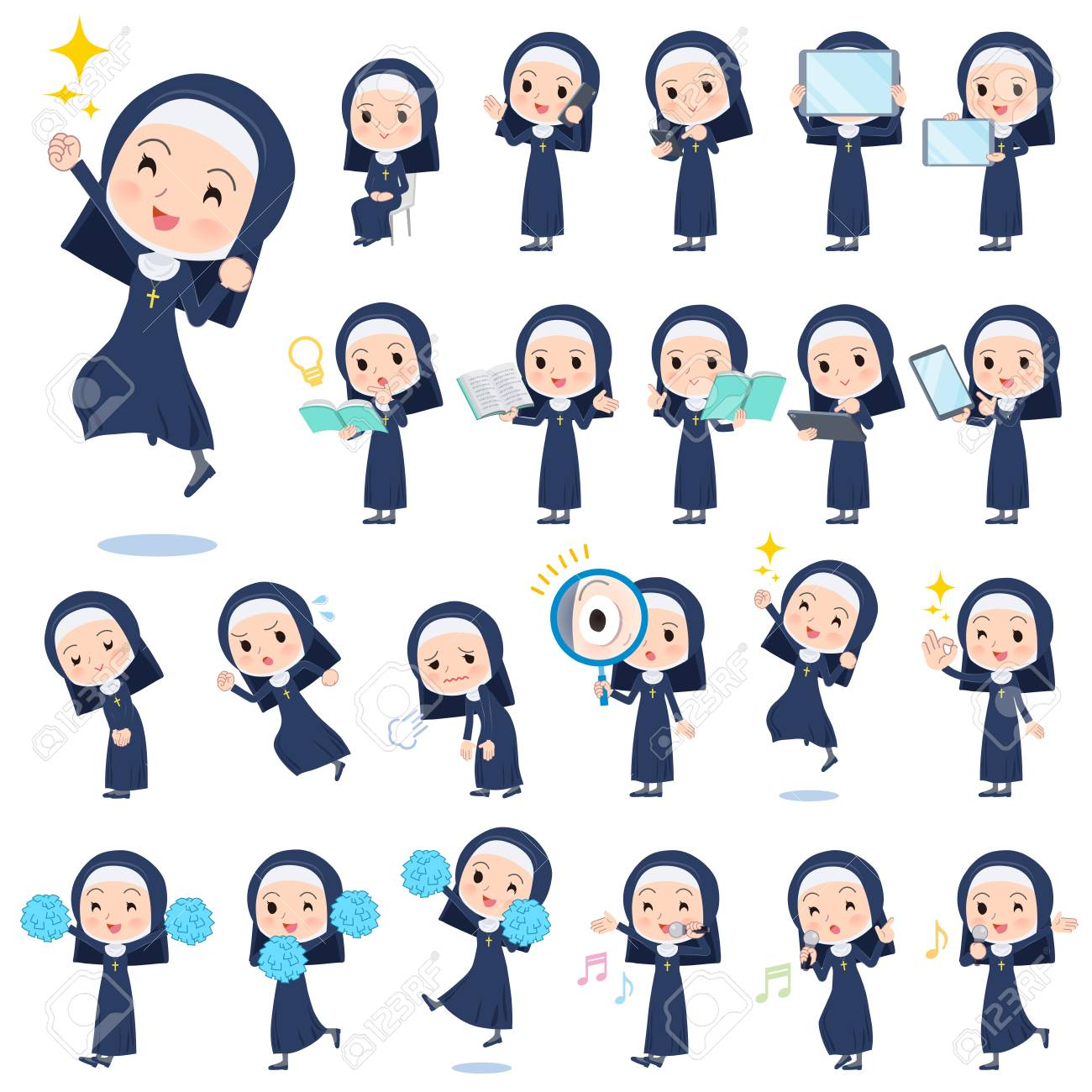 A set of Nun women with digital equipment such as smartphones.There are actions that express emotions.It's vector art so it's easy to edit. - 112646927