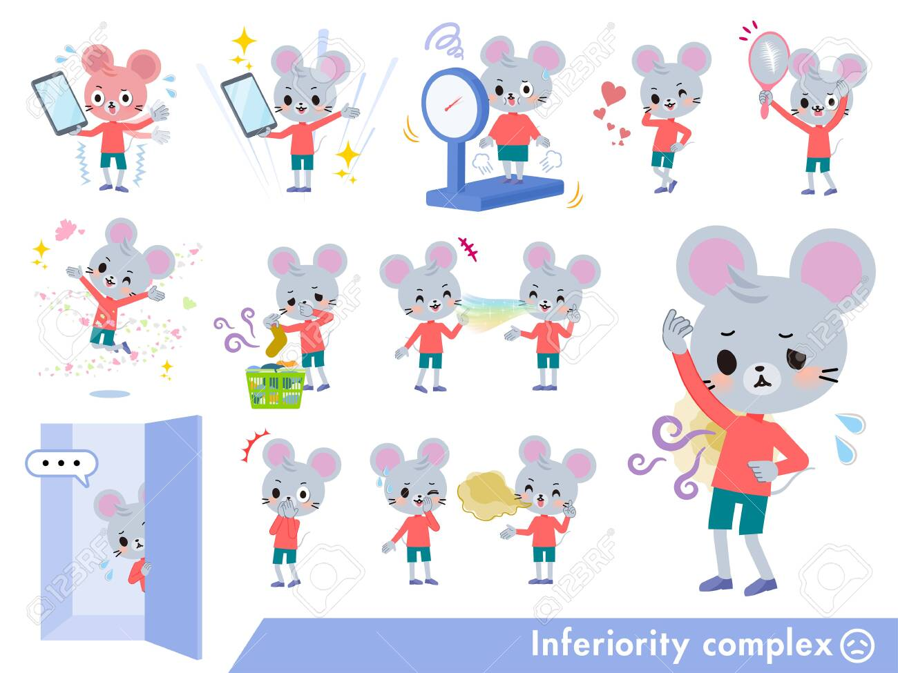 A set of mouse boy on inferiority complex.There are actions suffering from smell and appearance.It's vector art so it's easy to edit. - 126399331