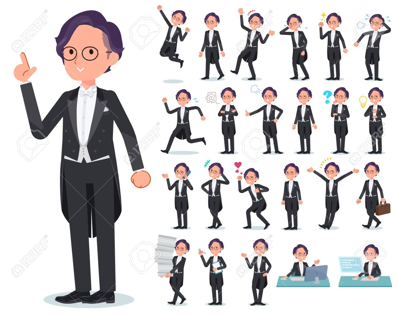 A set of men wearing a tail-coat with who express various emotions.There are actions related to workplaces and personal computers.It's vector art so it's easy to edit. - 126645737
