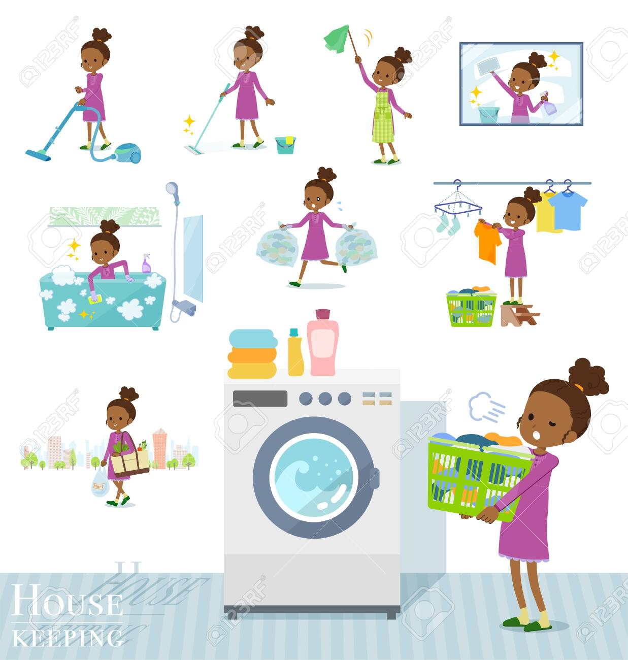 A set of girl related to housekeeping such as cleaning and laundry.There are various actions such as child rearing.It's vector art so it's easy to edit. - 129553976
