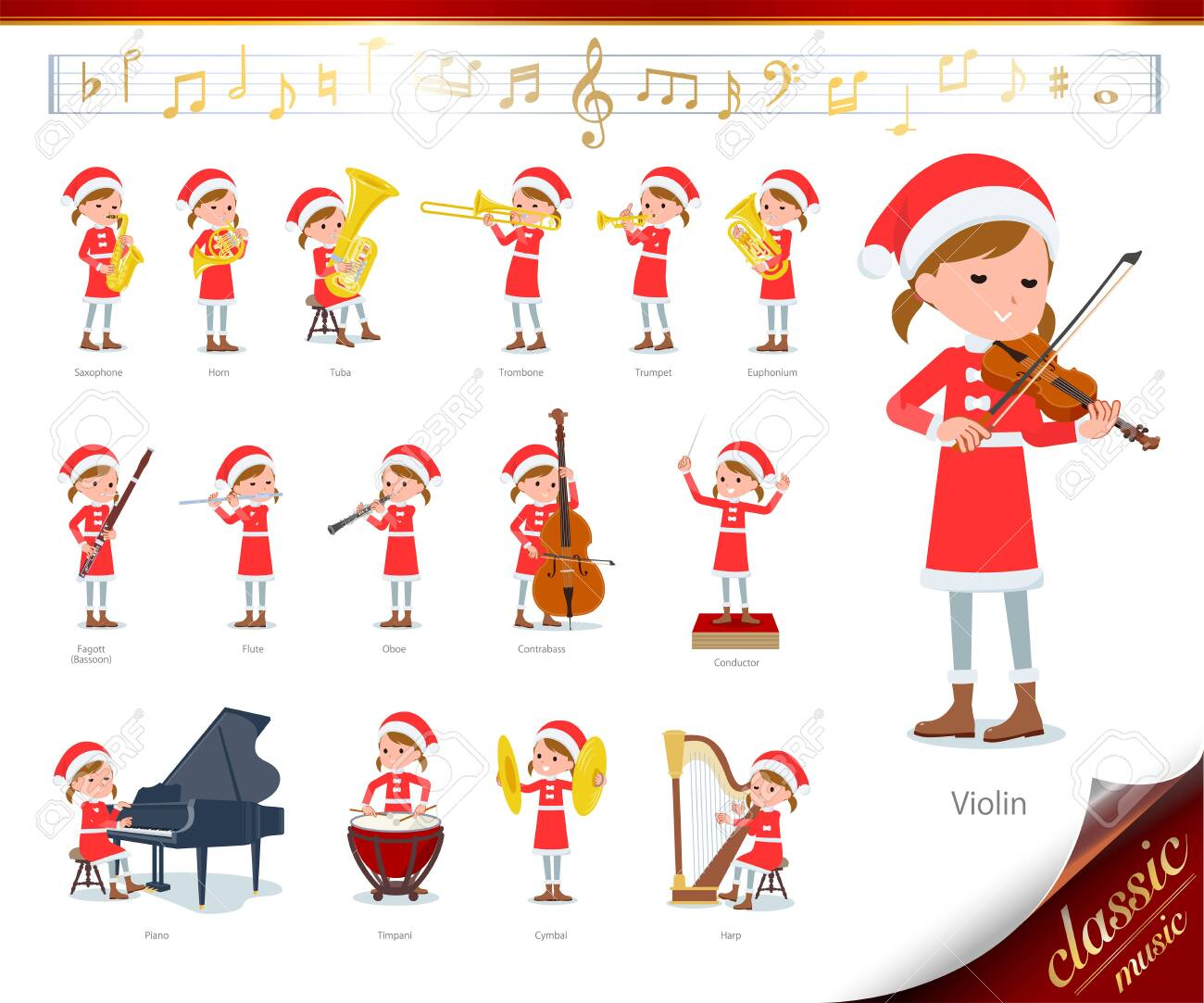 set of Santa Claus costume girl on classical music performances.There are actions to play various instruments such as string instruments and wind instruments.It's vector art so it's easy to edit. - 135189042