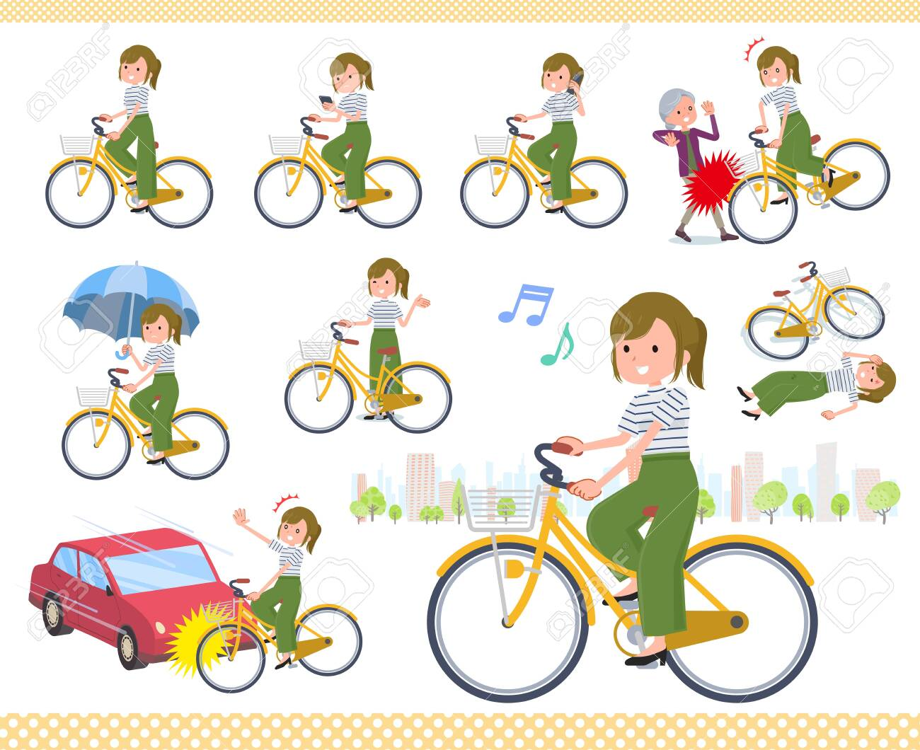 A set of casual fashion women riding a city cycle.There are actions on manners and troubles.It's vector art so it's easy to edit. - 137369771