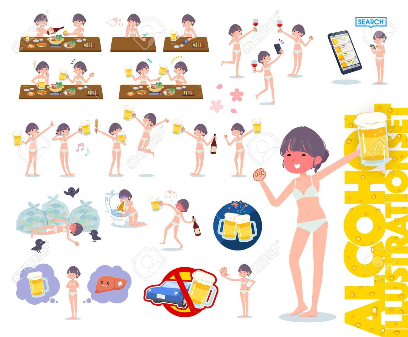 A set of women in underwear related to alcohol.There is a lively appearance and action that expresses failure about alcohol.It's vector art so it's easy to edit. - 143366074