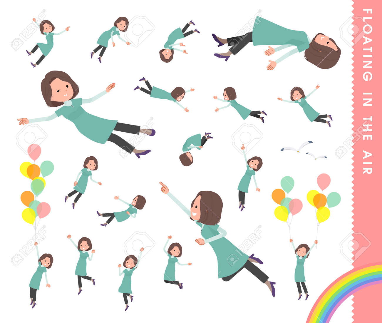 A set of middle-aged women in tunic floating in the air.It's vector art so easy to edit. - 168680177