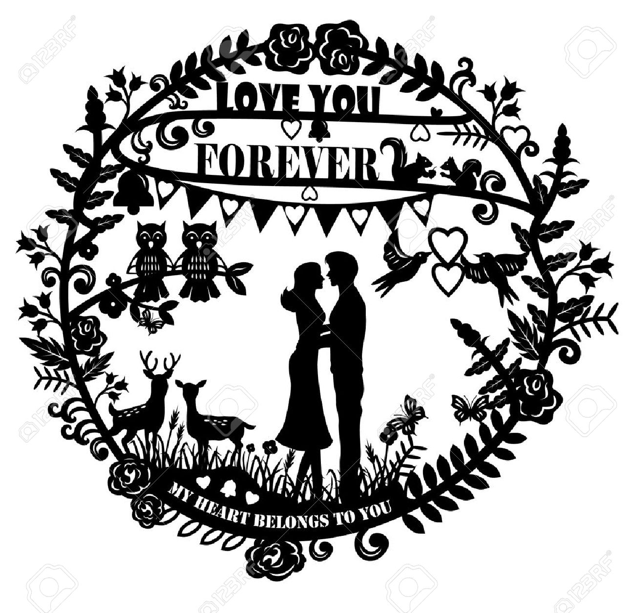 Paper cut arts - silhouette of man and woman hugging and animals couple with text love you forever - 35382148