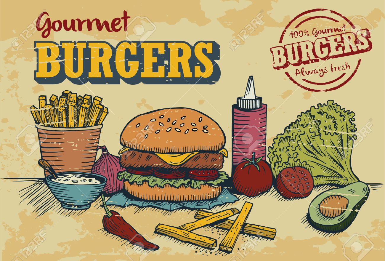 Hand drawn of hamburger and ingredients in retro style with 100% gourmet burger stamp, vector - 35308429
